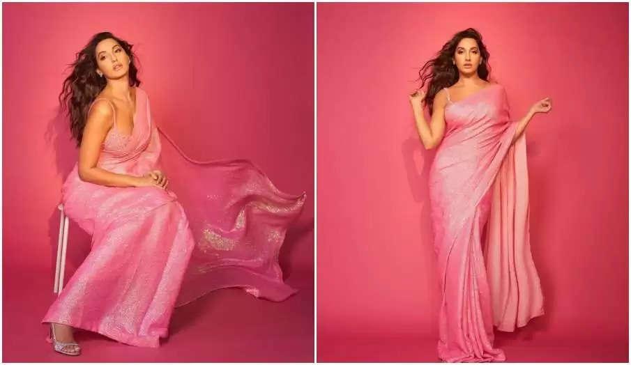 Nora Fatehi's sari look went viral, looked completely different in pink sari