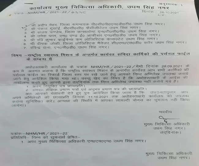 Nainital ऊधमसिंह नगर सीएमओ कार्यालय से कर्मचारियों के शैक्षणिक अभिलेख गायब